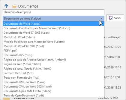 Clique no menu suspenso de tipo de arquivo para selecionar outro formato de arquivo para seu documento