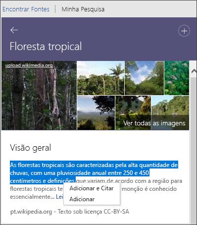 Pesquisador Ver todas as imagens, adicionar texto ou adicionar e citar texto