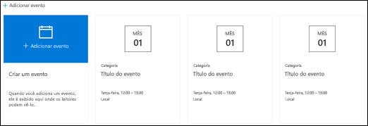 Web Part de eventos do SharePoint