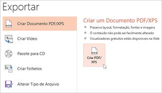 Salvar uma apresentação como PDF