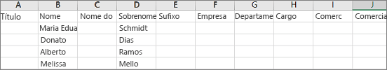 Exemplo do arquivo Outlook .csv aberto no Excel