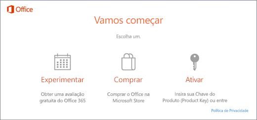 Uma captura de tela que mostra as opções padrão Testar, comprar ou ativar num computador que venha com o Office pré-instalado.