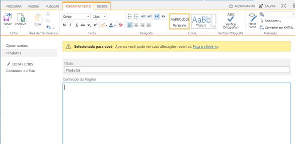 A captura de tela de uma nova página de publicação com uma barra amarela indicando a página que está fazendo o check-out
