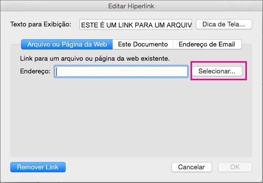 Mostra a caixa de diálogo Inserir Hiperlink no PowerPoint 2016 para Mac