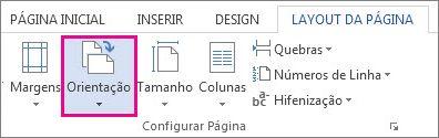 Opções de orientação de página