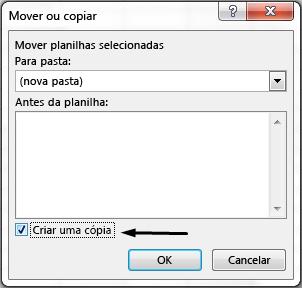 """A caixa de seleção """"Criar uma cópia"""" está na parte inferior da caixa de diálogo."""