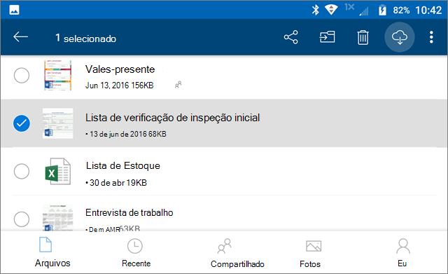 Marcar os arquivos do OneDrive como offline