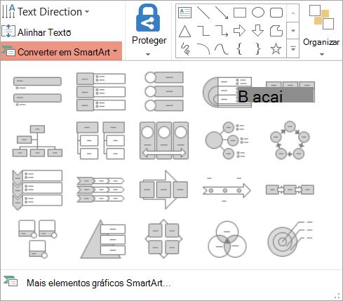 Mostra as opções na converter em Galeria de SmartArt