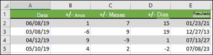 Use a função data para adicionar ou subtrair anos, meses ou dias de a/de uma data.