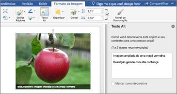 Documento do Word com o painel Texto Alt e uma imagem à direita
