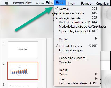 O menu Exibir no PowerPoint