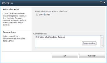 Caixa de mensagem que aparece quando é feito check-in em um arquivo