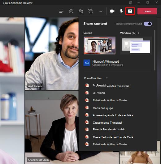 Novo conteúdo de compartilhamento na reunião