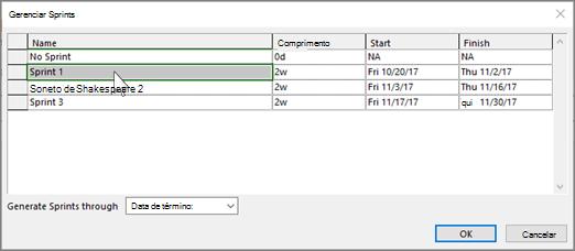 Captura de tela da caixa de diálogo Gerenciar Sprints