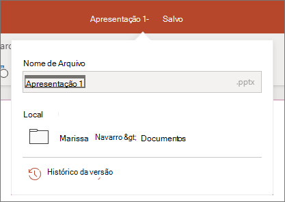 Clique no nome do arquivo no centro da barra de título, próximo à parte superior da janela do navegador.