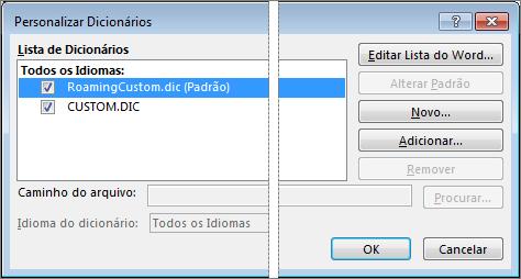 A caixa de diálogo Dicionário Personalizado