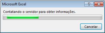 Mensagem do Office: Contatando o servidor para obter mais informações