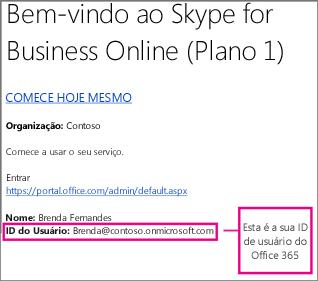 Um exemplo de email de boas-vindas que você recebe após se inscrever no Skype for Business Online. Ele inclui a ID de usuário do Office 365.