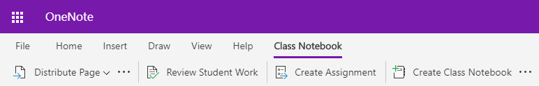 Captura de tela da classe guia bloco de anotações no OneNote Online