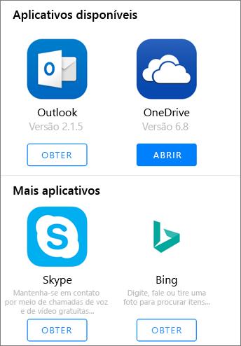 Mostra o Outlook, OneDrive, Skype e Bing como aplicativos disponíveis para obter no Office 2016 inicializador de aplicativos do iPad.