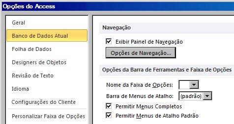 configurações de opções de navegação