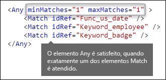 Marcação XML mostrando o elemento Any com os atributos minMatches e maxMatches