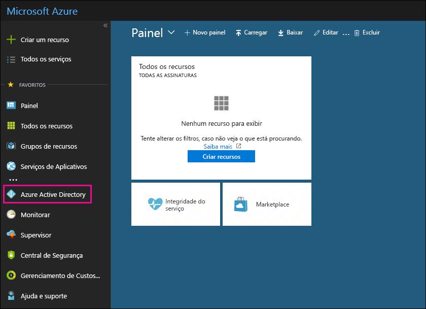 Clique no Azure Active Directory no painel de navegação à esquerda no portal do Azure.