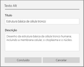 Caixa de diálogo de texto Alt para adicionar texto Alt no OneNote para Windows 10.