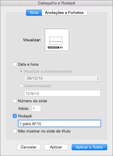 Caixa de seleção Rodapé na guia Slide na caixa Cabeçalho e Rodapé