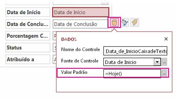 Configurando o valor padrão de um campo de data em um Access app.