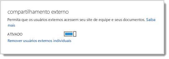 Imagem mostrando o controle para ativar/desativar o acesso de usuários externos a seu site de equipe e aos documentos.