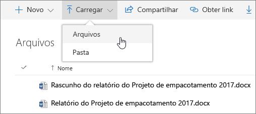 Carregar arquivos no OneDrive for Business