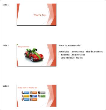 Folhetos da maneira como eles são mostrados no Word