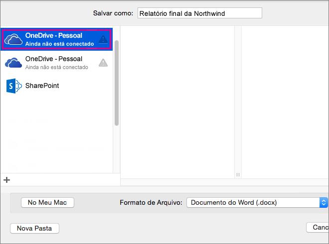 Para salvar o documento no OneDrive ou em outro local online, clique em Locais Online.