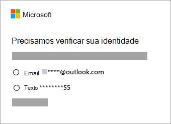 Captura de tela das opções para verificação de identidade