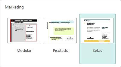 Modelos de cartões-postais de marketing no Publisher.