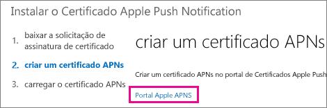 Para criar o certificado, acesse o portal de certificados push da Apple.