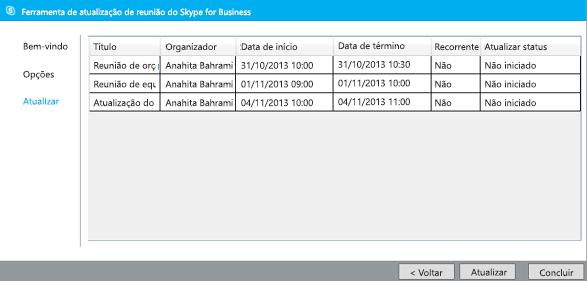 Captura de tela da atualização da ferramenta de migração de reunião