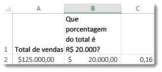 U$125.000 na célula A2, U$ 20.000 na célula B2 e 0,16 na célula C3