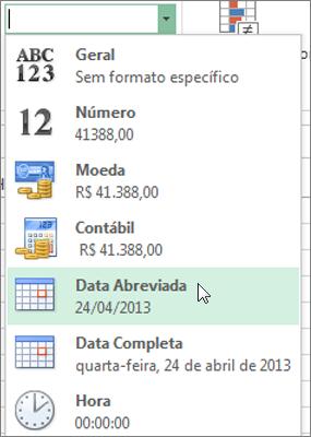 Comando Data Abreviada na galeria Formato do Número