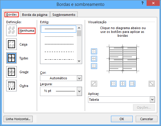 Outlook 2010 Borders and Shading dialog box for tables