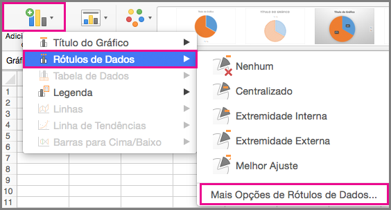Gráfico adicionar elementos do Office para Mac