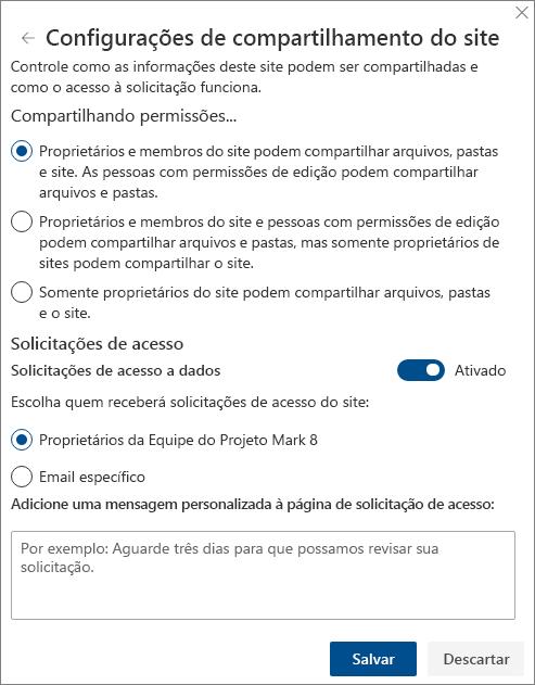 Captura de tela do painel de configurações de compartilhamento do site.