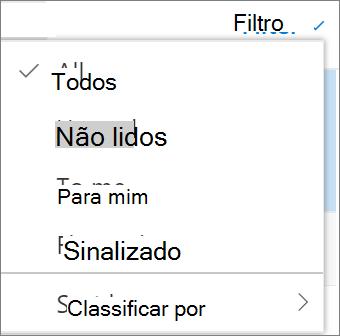 Uma captura de tela mostra a opção tudo selecionada no controle Filte para mensagens de email.