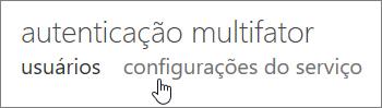 A página da autenticação multifator com uma mão apontando para o link de configurações de serviço.