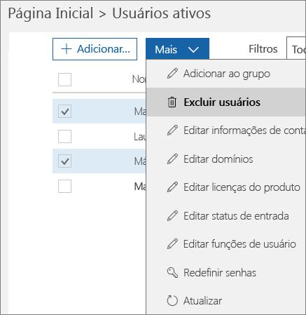 Exclua várias contas de usuário do Centro de administração do Office 365.