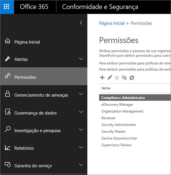 Página Permissões no Centro de Conformidade e Segurança do Office 365