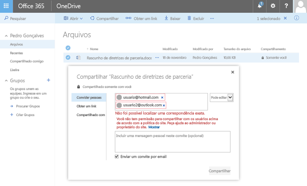 Os usuários recebem esse erro ao tentar compartilhar um documento do OneDrive para um endereço de domínio restrito.