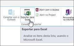 botão Exportar para Excel do SharePoint realçado na faixa de opções