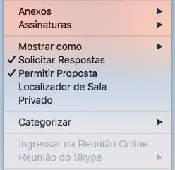 Menu Reunião: Reunião do Skype Desabilitada